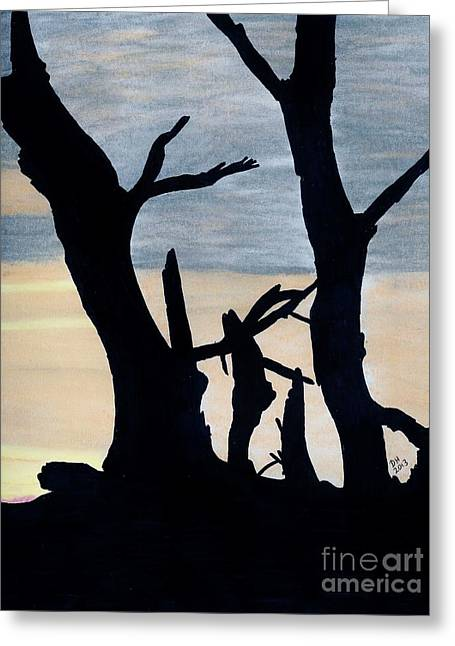 Greeting Card featuring the drawing Gray Sunset by D Hackett
