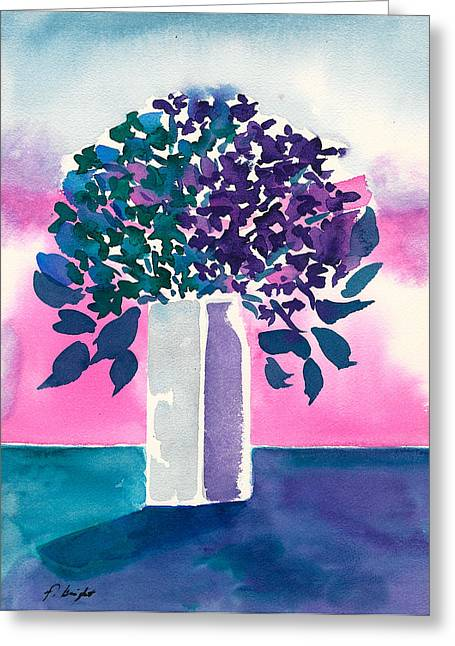 Greeting Card featuring the painting Gray Vase by Frank Bright
