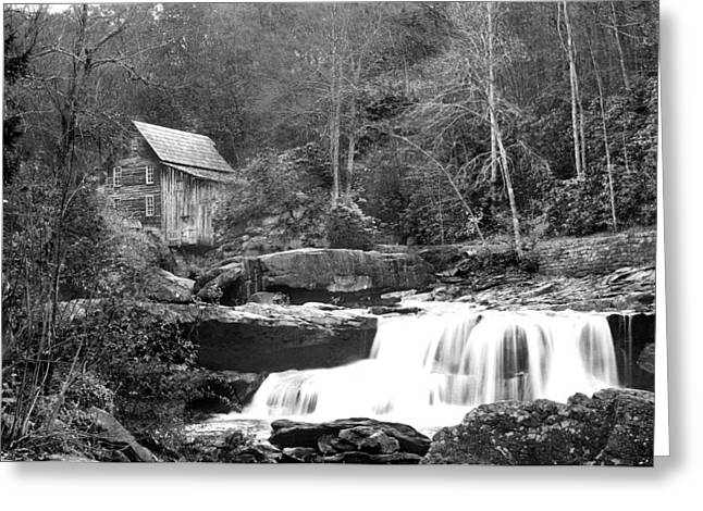 Grayscale Mill And Waterfall Greeting Card