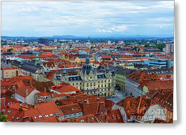 Graz Old Town Greeting Card by Mariola Bitner