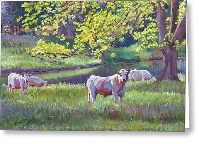 Grazing By The Lake Greeting Card