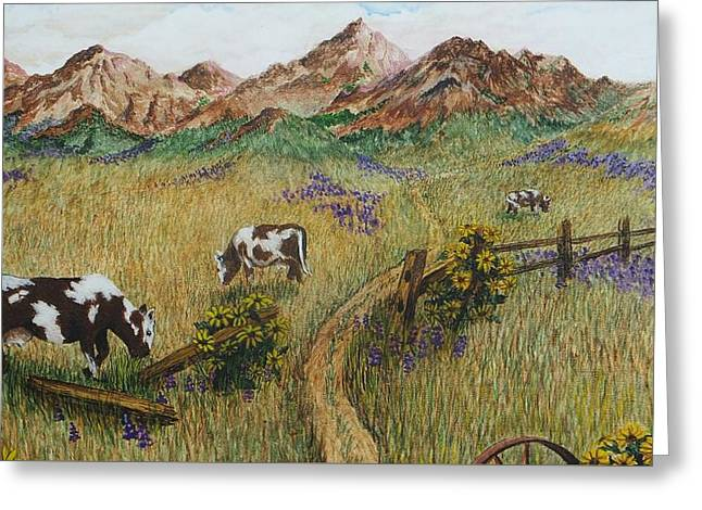 Grazing Cows Greeting Card by Katherine Young-Beck