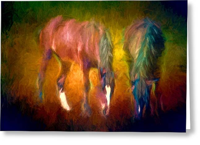 Grazing Horses Version 2 Textured Greeting Card