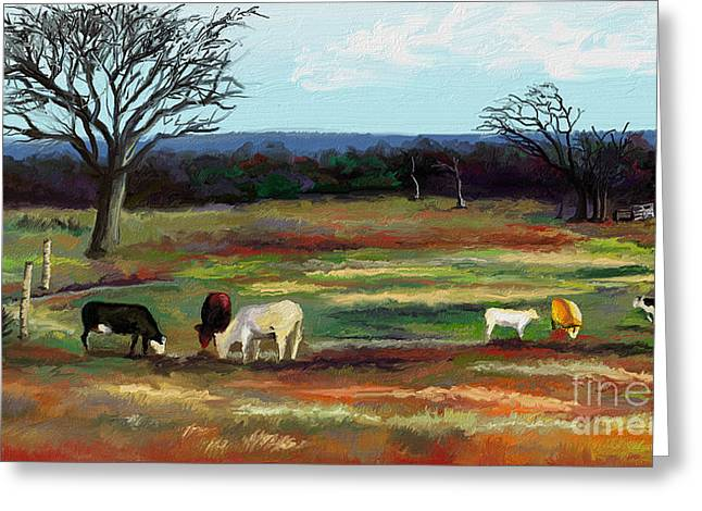Grazing In The Pasture Greeting Card by Sandra Aguirre