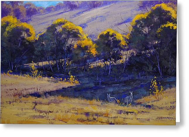 Grazing Kangaroos Greeting Card by Graham Gercken