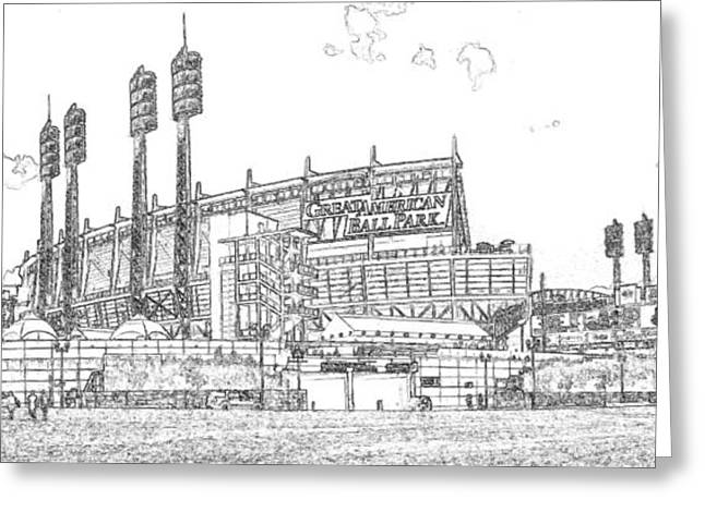 Great American Ball Park Line Greeting Card