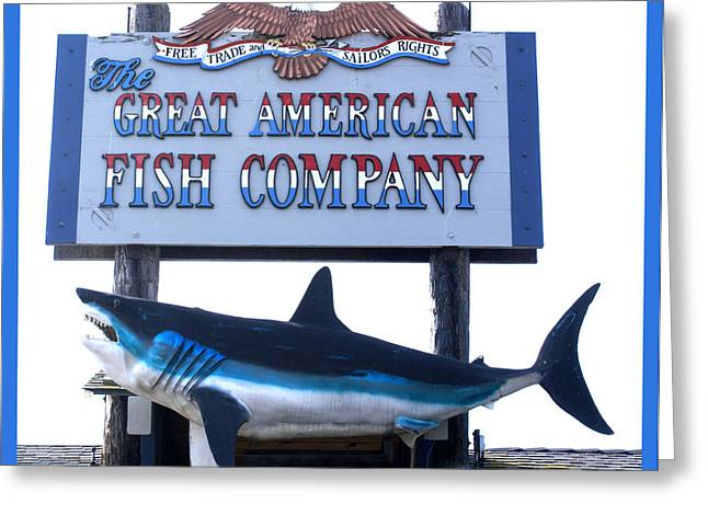 Great American Fish Company Blue Greeting Card by Barbara Snyder