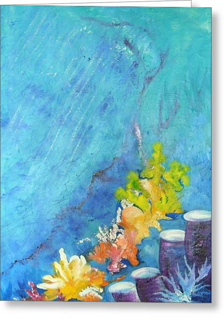 Greeting Card featuring the painting Great Barrier Reef Coral by Lyn Olsen
