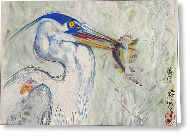 Great Blue Heron And Fish Greeting Card
