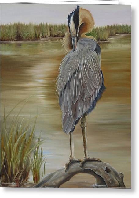 Great Blue Heron At Half Moon Island Greeting Card