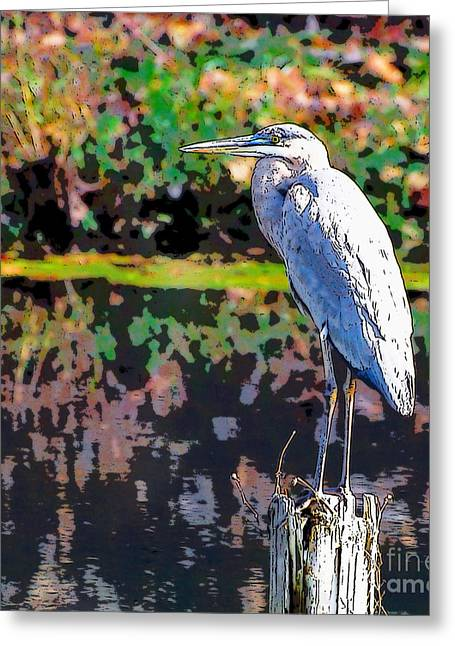 Great Blue Heron At The Pond Greeting Card