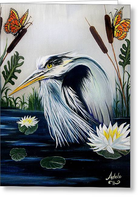Great Blue Heron Happiness Greeting Card by Adele Moscaritolo