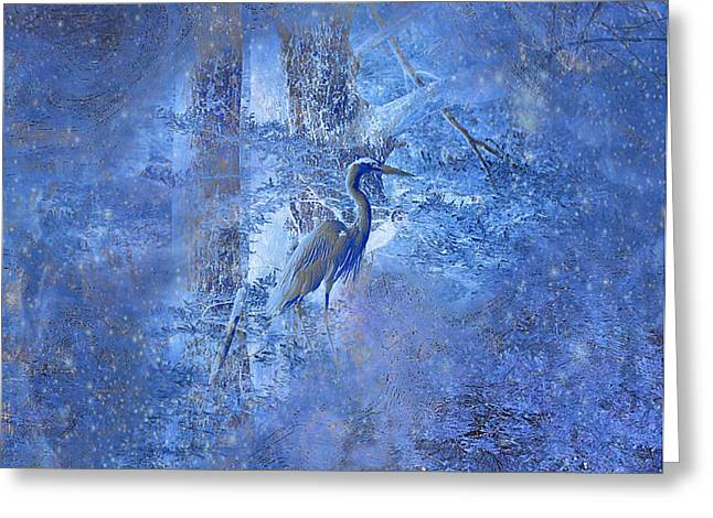 Greeting Card featuring the digital art Great Blue Heron In Cosmic Meditation by J Larry Walker