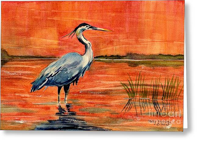 Great Blue Heron In Marsh Greeting Card