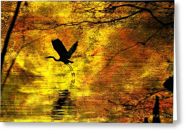Greeting Card featuring the digital art Great Blue Heron In Moment Of Suspense by J Larry Walker