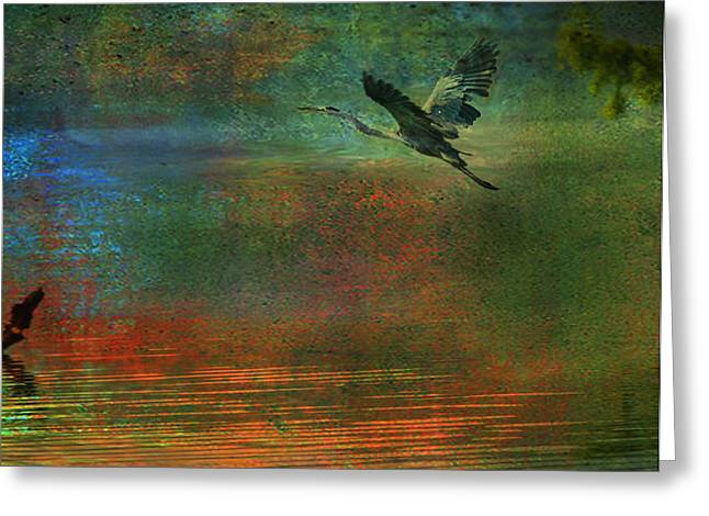 Greeting Card featuring the digital art Great Blue Heron In Mystic Flight by J Larry Walker