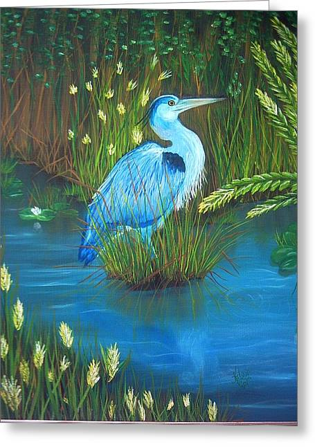 Great Blue Heron Greeting Card by Kathern Welsh