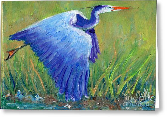 Greeting Card featuring the painting Great Blue Heron Mini Painting by Doris Blessington