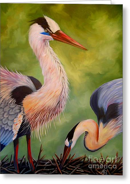 Great Blue Herons Greeting Card by Nancy Bradley