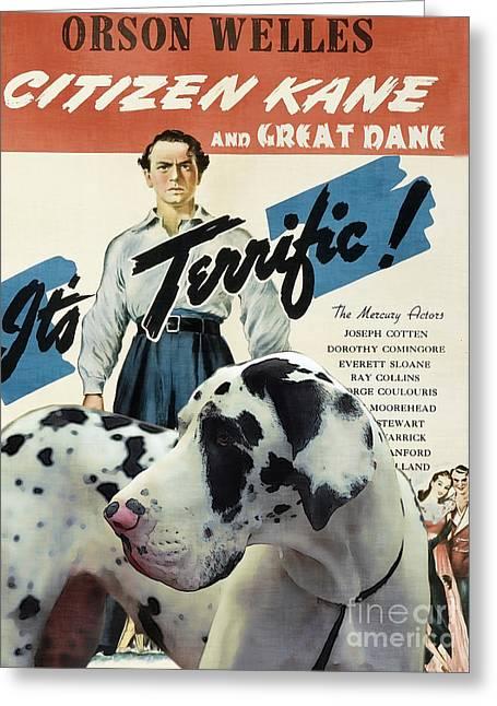 Great Dane Art Canvas Print - Citizen Kane Movie Poster Greeting Card by Sandra Sij