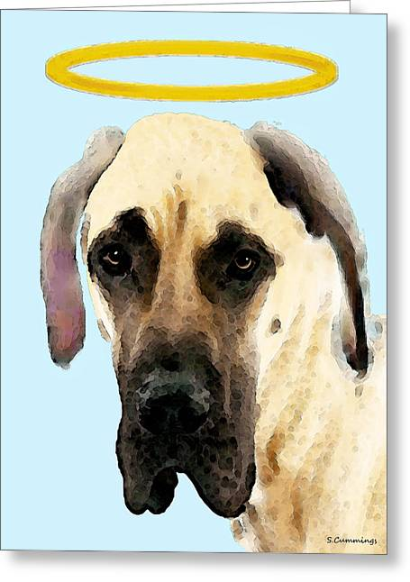 Great Dane Art - I Didn't Do It Greeting Card by Sharon Cummings