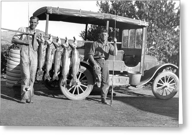 Great Day Of Salmon Fishing Greeting Card by Underwood Archives
