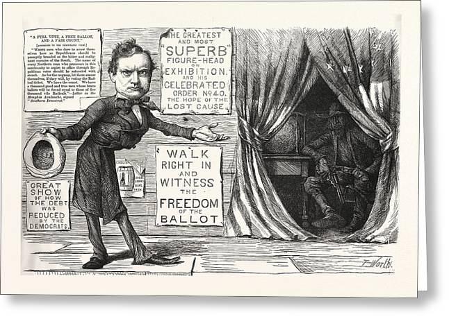 Great Democratic Moral Show, Engraving 1880, Us, Usa Greeting Card