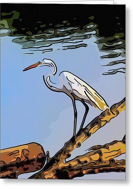 Great Egret Fishing Abstract Greeting Card