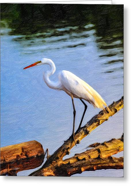 Great Egret Fishing Oil Painting Greeting Card