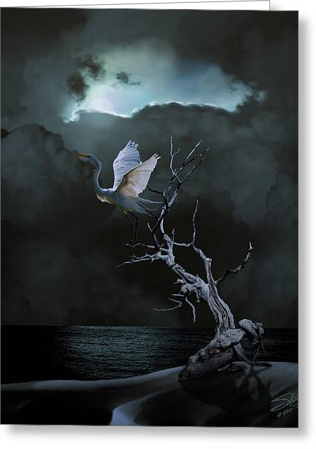 Great Egret Under Full Moon Greeting Card