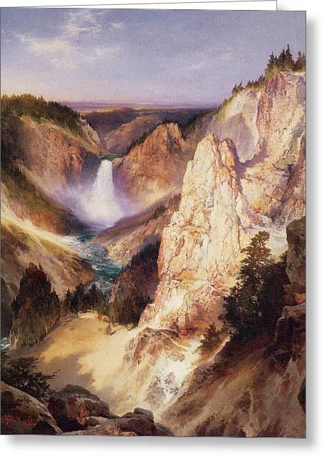 Great Falls Of Yellowstone Greeting Card by Thomas Moran