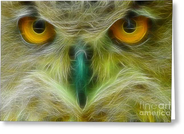 Great Horned Eyes Fractal Greeting Card by Gary Gingrich Galleries
