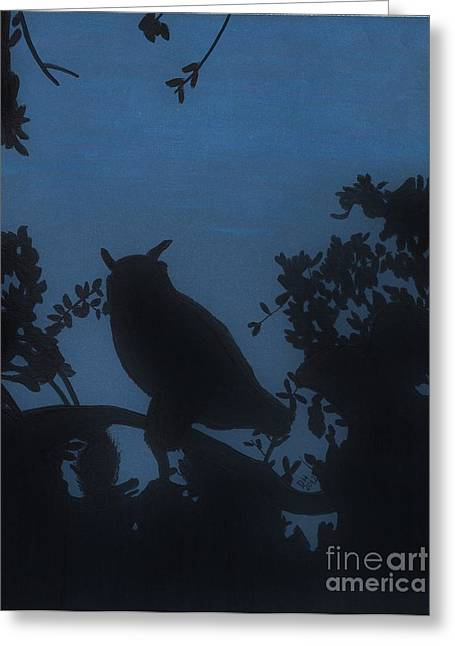 Greeting Card featuring the drawing Owl At Night by D Hackett