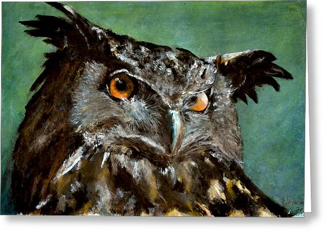 Great Horned Owl Greeting Card by Carlo Ghirardelli