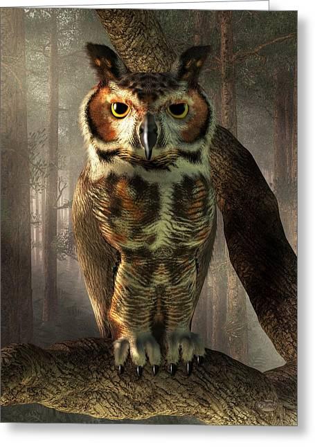 Great Horned Owl Greeting Card by Daniel Eskridge