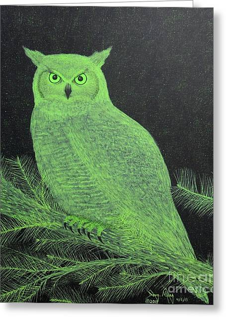 Great Horned Owl Greeting Card by Doug Miller