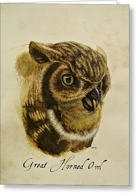 Great Horned Owl Greeting Card by Rachel Root