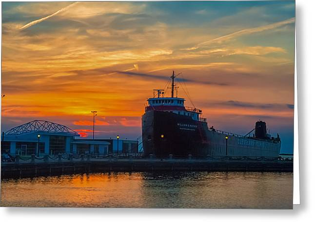 Great Lakes Freighter At Sunset Greeting Card
