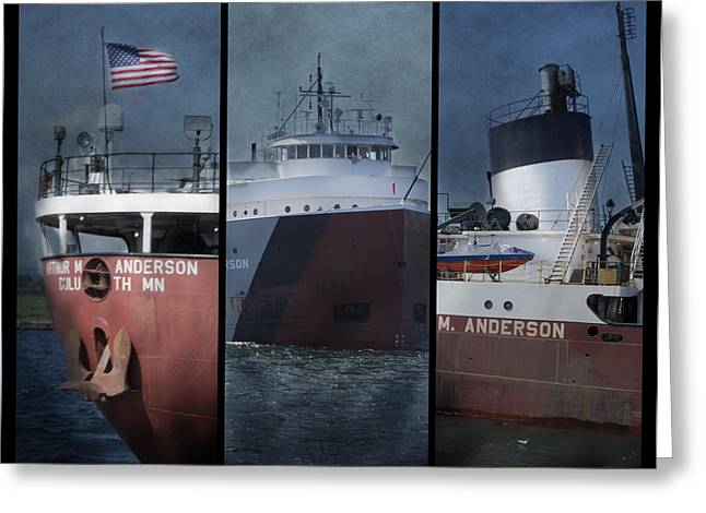 Great Lakes Freighter Triptych Arthur M Anderson Greeting Card by Evie Carrier