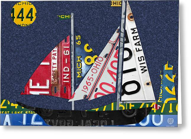 Great Lakes States Sailboat Recycled Vintage License Plate Art Greeting Card by Design Turnpike