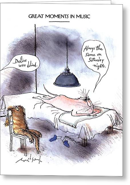 Great Moments In Music 'delius Was Blind.' Greeting Card by Ronald Searl