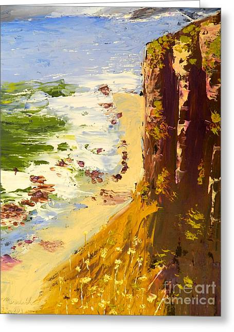 Greeting Card featuring the painting Great Ocean Road by Pamela  Meredith