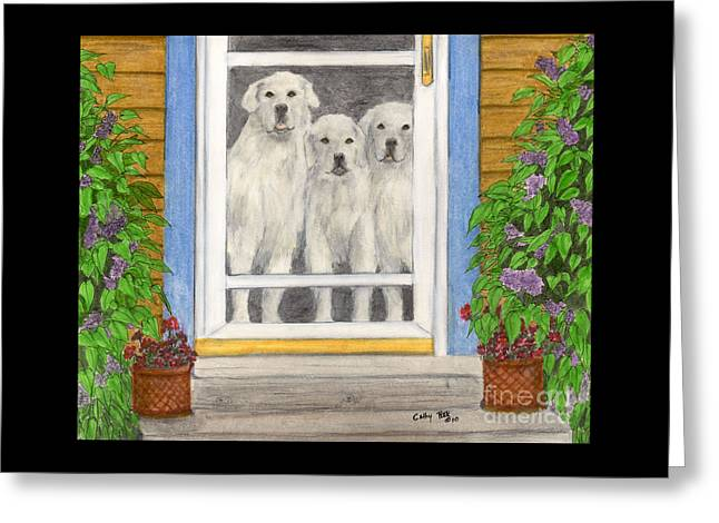 Great Pyrenees Dogs On Porch Animal Pets Art Greeting Card