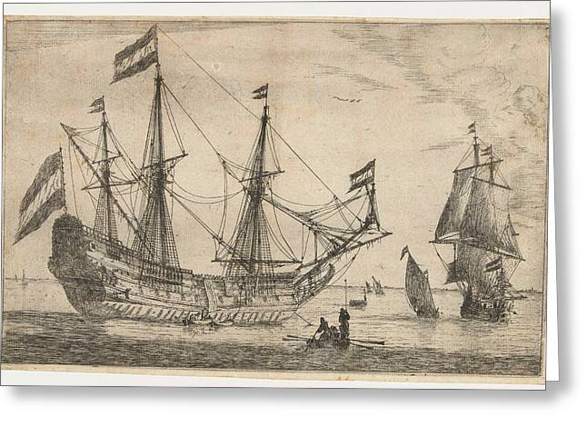 Great Sailing Boat And Rowing Boat, Reinier Nooms Greeting Card