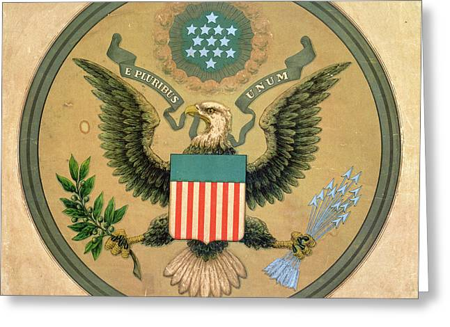 Great Seal Of The United States, C.1850 Litho Greeting Card by Andrew B. Graham