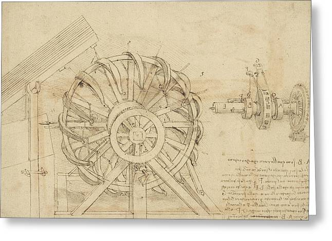 Great Sling Rotating On Horizontal Plane Great Wheel And Crossbows Devices From Atlantic Codex Greeting Card by Leonardo Da Vinci
