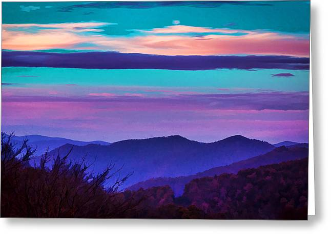 Great Smoky Mountain Sunset Painted Greeting Card by Rich Franco
