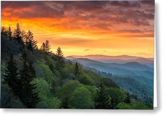 Great Smoky Mountains North Carolina Scenic Landscape Cherokee Rising Greeting Card