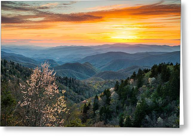 Great Smoky Mountains Spring Sunset Landscape Photography Greeting Card by Dave Allen
