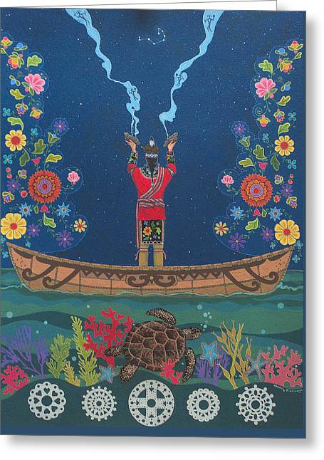Greeting Card featuring the painting Great Teacher - Sedwa'gowa'ne by Chholing Taha